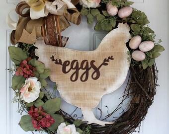 Chicken and Eggs Grapevine Wreath, Farmhouse Wreath, Kitchen Wreath, Indoor Wreath, Grapevine Wreath