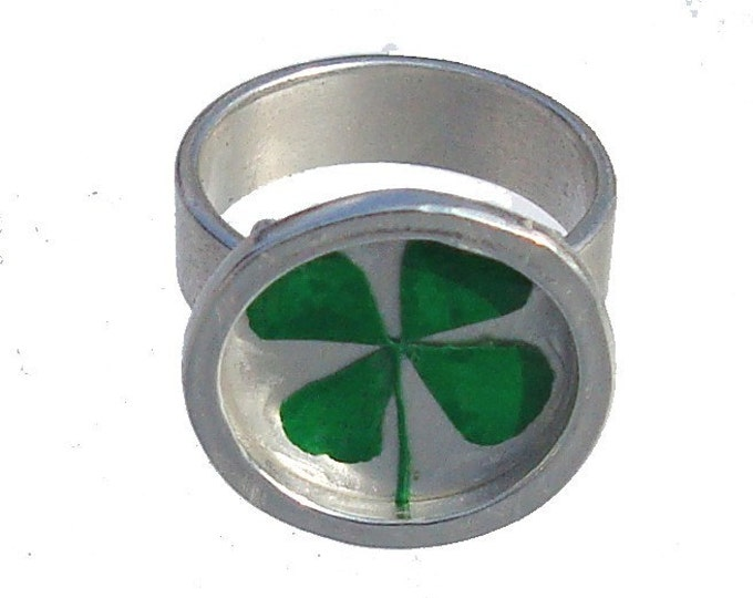 Real Pressed  four leaf clover/sterling silver ring/ St. Patrick's Day