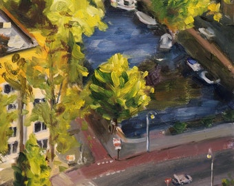 """small oil painting, """"view from above"""", Amsterdam cityscape, 6x6 inch, oil on gessobord"""