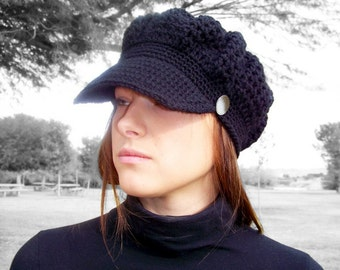 Crochet Newsboy Hat Womens Newsboy Hat Womens Crochet Hat Women Women Newsboy Cap Crochet Hat Black Newsboy Hat Crochet Slouch Hat Black Hat