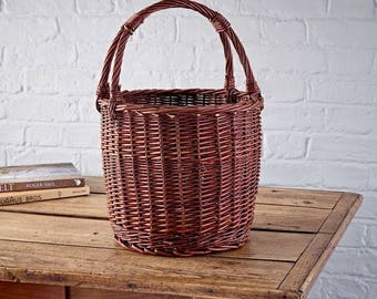 Round Rustic Wicker Shopping Basket