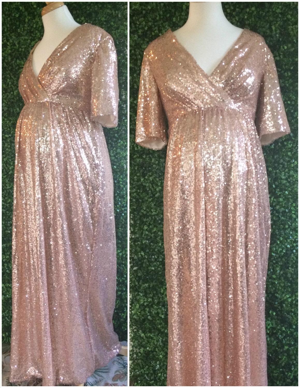 Sequin maternity bridesmaids dress sequin bridesmaid rose zoom ombrellifo Images