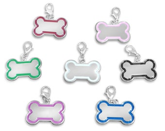 Personalised engraved Bone shaped pet ID tag with gift pouch - ref BR229