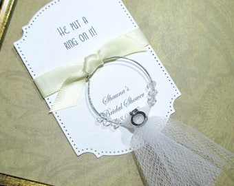 Bridal Shower Favors - He put a ring on it - Wine Glass Charm Favors - Set of 10 - Personalized - Custom - Unique - Wine Glass Tags