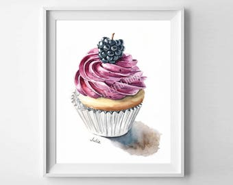 cupcake art print, dessert art, food print