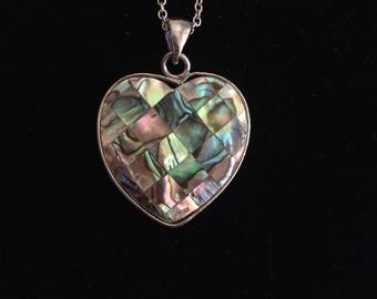 paua mother of Pearl Heart Necklace