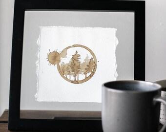 Evergreen Trees Coffee Stain Painting - Art Print - Home Decor - Wall Art - Travel Art - Travel Print - Watercolor Print - Pine Tree Print