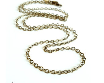 """Antiqued Brass Long Necklace Chain - Your choice in length from 24"""" to 34"""""""
