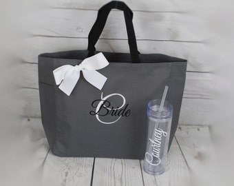 Set of 2, Bridesmaid Gifts Tote and Tumbler, Bridesmaids Gift, Wedding Tote and Tumbler Set, Personalized Tote, Bachelorette Party