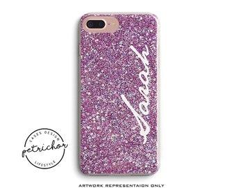 Glitter Personalize Phone Case - iPhone 7 Case - iPhone 7 Plus Case - iPhone 6 Case - iPhone 8 Case - iPhone X Case - iPhone 8 Plus Case