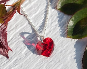 Red heart necklace, Black choker heart pendant, Swarovski® Crystal heart pendant, Sparkly red heart, Silver heart necklace, Bridesmaid gifts