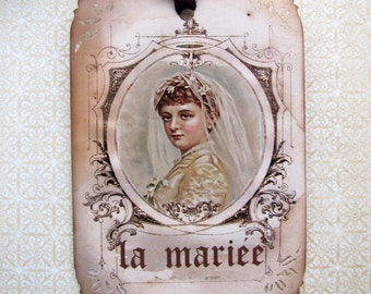French Bride Wedding Gift Tags