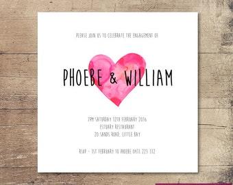 Printable Watercolour Heart Engagement Invitation / Customisable Digital File / JPG or PDF / Pink