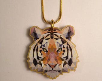 Small/ Medium TIGER necklace- image printed onto LASERCUT acrylic (larger version also available- pls see shop)  - gift - present