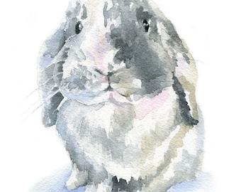 Rabbit Watercolor Painting Mini Lop - Giclee Print - 8 x 10 - 8.5x11 - Nursery Art