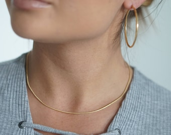 Plain Snake Chain Necklace, 18K Gold Filled Chain, Thin cable chain necklace, Dainty Gold fill chain necklace, Gold Layering necklace chain