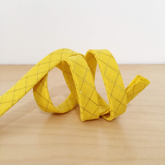 """Bias Tape in Anna Maria Horner's Loominous Illuminated Graph in Metallic Glow 1/2"""" double-fold bias tape- yellow and gold- 3 yard roll"""