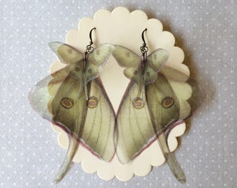 Handmade Luna Moth (Actias Luna) Earrings - Silk Organza Butterflies and Wings - Made to Order