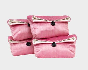 Pink Bridesmaid Gift Set of 4, Free Shipping, Bridesmaid Gift Bag, Bridesmaid Gift Idea, Silk Clutch, Bridesmaid Clutch Set of Four