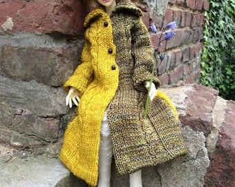 Long twisted coat, ocher and khaki merino wool, for BJD MSD dolls