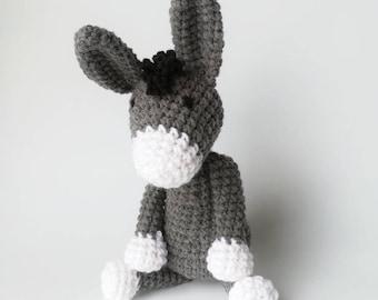 Crochet Donkey Baby Rattle/ Stuffed Animal/ Baby Toys/ Amigurumi Donkey/ Plush Donkey/ Baby Present / Grey Donkey/ Baby Shower Gift/ Rattle