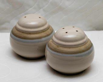 Vintage Noritake China Salt n Pepper Shakers, Painted Desert Pattern, Fat Round Shape, Make in Japan