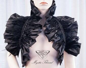 Black taffeta gothic victorian shrug bolero decorated with black feathers