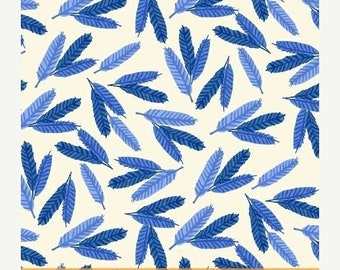 EXTRA 20 30% OFF Flower Pedals Blue Feathers by Carolyn Gavin for Windham Fabrics