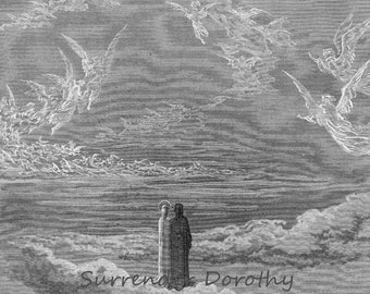 Paradiso Canto 19 Blessed Souls Form An Eagle In The Sky Gothic Vintage Engraving Gustave Dore' Black & White