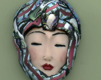 Polymer Clay OOAK   Detailed Asian  Art Doll Face with Faux Fabric Clay  hat Cab  ASN 11