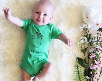 I Will Be Mighty Acorn Baby Onesie - Grass Green - Size 12-18 Months - SALE