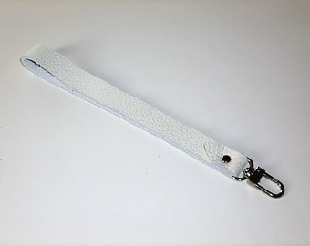 Strap handle wrist White leather with silver metal clasp