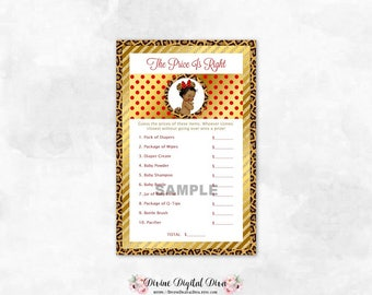 Price Is Right Leopard Red Gold Mouse Ears | Baby Shower Game | African American Baby Girl | Digital Instant Download
