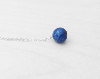 "Agate Pendant, Agate Stone, Agate Necklace, Blue Pendant, Sterling Silver Necklace, Silver Chain, 18"" Chain, Gemstone Pendant, Boho Pendant"