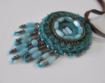 Turquoise necklace with pendant,hippie jewelry women, boho jewelry ,knit, ethnic, handmade ,letaher .Mother's day  jewelry