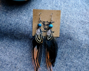 Repurposed Leather Earring - Leather Feather Earrings - Real Feather Earrings - Layered Feather Earrings - Real Leather Earrings for Women