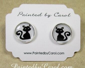Black Cat Earrings, Halloween Earrings, Black Cat Jewelry, Halloween Jewelry, Black Cat Studs, Halloween Studs, Black Cat Gifts