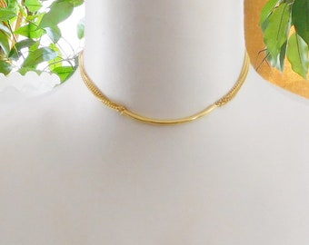 Curved Gold Bar Chain Collar Choker Necklace Multi Strand Gold Tone Vintage Costume Jewelry 15""
