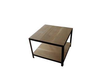 Coffee style side table industrial loft oak and steel
