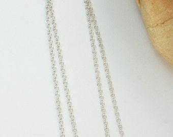 Sterling Silver Earrings - Long Rolo Chain Sterling Silver Heart Earrings - KTBL