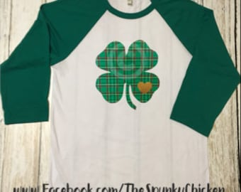 Ladies Plaid Clover St. Patrick's Day White and Black or Green Raglan