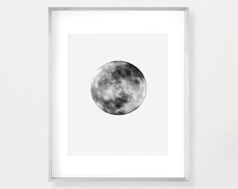 Moon Print, Moon Poster, Full Moon Poster Art, Full Moon Printables, Full Moon Poster, Full Moon Print, Black and White, Printable Art