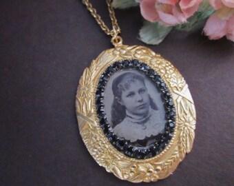 Antique Tintype Pendant Necklace with rhinestones