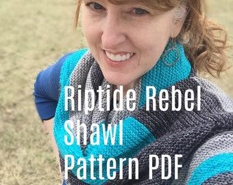 PDF Riptide Rebel Asymmetrical Chevron Shawl Knitting Pattern DK Yarn Digital Download silver treasuregoddess silver gray grey turquoise swm