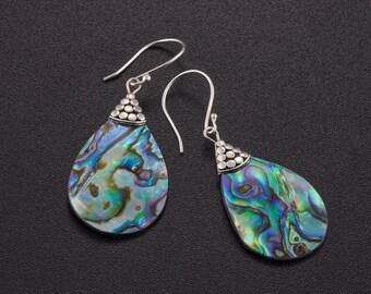 Abalone earrings. paua jewelry. abalone silver earrings. beach jewelry. green silver earrings. abalone shell jewelry. drop earrings.