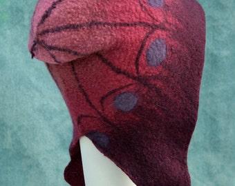 Pomegranate Butterfly Hat - Hand Felted Merino Wool - Ear Flaps - Red - Purple - Aviator