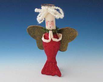 Angel Mermaid ORNAMENT, Mermaid Doll Ornament, Ornaments, Primitive Mermaid, Mermaid