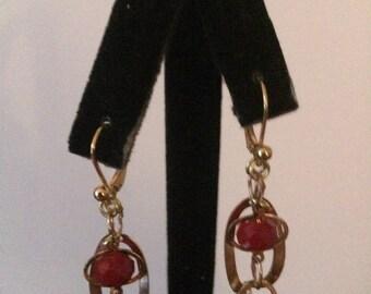 Dangling Red Bead Earrings