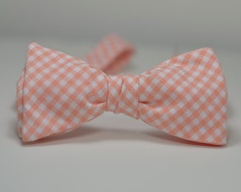 Peach Bow Tie, Peach Gingham, Wedding Bow Tie, Groomsmen Tie, Coral Freestyle Bowtie, Self Tie Bow Tie