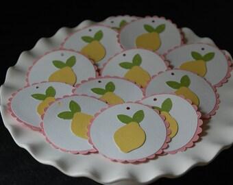 Pink Lemonade Favor Tags, Pink Lemonade Tags, Lemonade, Lemon, 12 Pcs